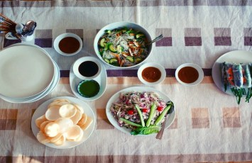 Table of Vietnamese foods