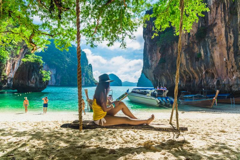 Digital nomad on the beach in Thailand