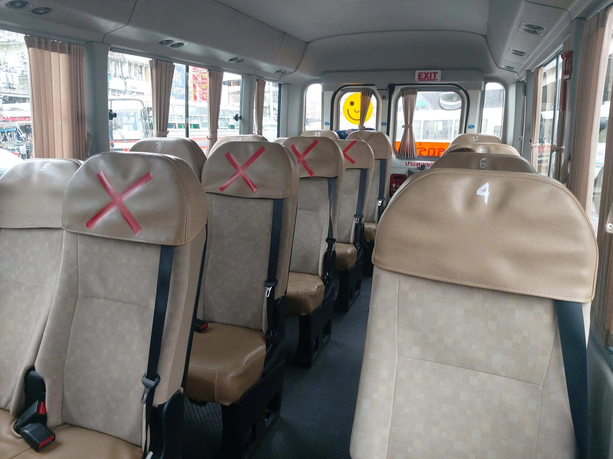 Seats with crosses on them