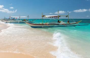 Taxi boat, Puka Beach, Boracay Island