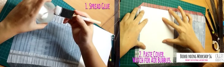casebinding-pasting cover onto decorative paper