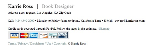 Book Designer Karrie Ross contact infomation. Credit cards accepted. Phone: 424-340-2000; Los Angeles, CA
