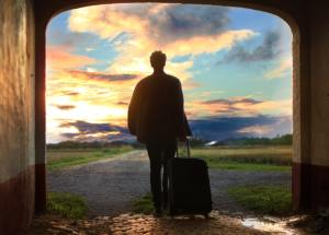 Suitcase Man Sunrise | Book FHR Travel Blog