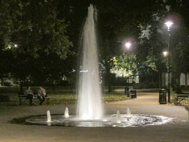 Fountain at the center of Russell Square