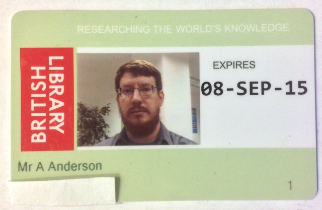 My British Library reader card (little slip of paper covering up my card ID number)