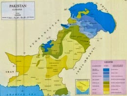 Map showing different climatic zones and regions of Pakistan