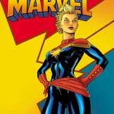 Comic Cover zeigt Captain Marvel vor einem gelben Hintergrund