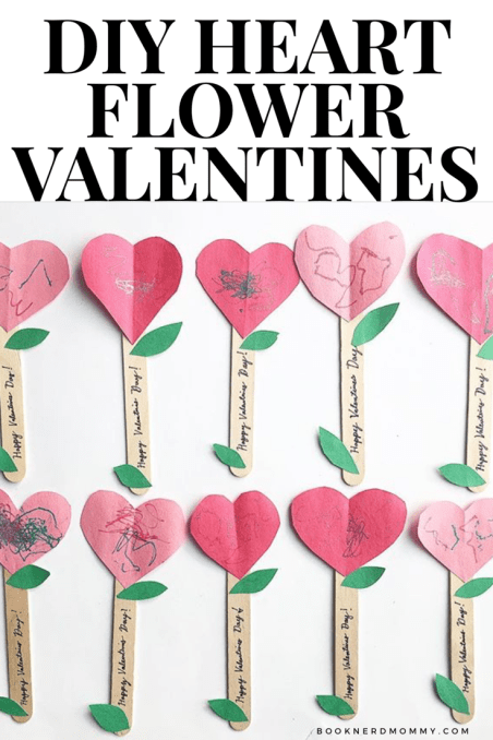 These DIY heart flower valentines are not only super adorable, but they are easy enough for toddlers to help with!  Plus, they take hardly any supplies or time to make.  A definite winner!