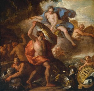 Thetis Accepting the Shield of Achilles from Vulcan circa 1710 by Sir James Thornhill 1675 or 76-1734