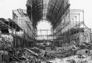 Crystal Palace, Sydenham, London, in ruins following the devastating fire of 30 November 1936