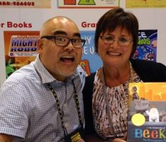 Meeting Caldecott award winning author, Dan Santat at the ILA Convention.