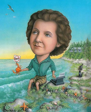 Rachel Carson, Lives of the Scientists, illustration copyright Kathryn Hewitt