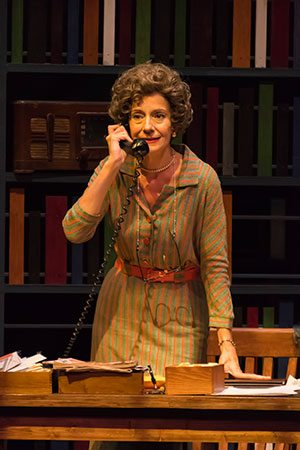 "Carmen Roman as librarian Emily Wheelock Reed, a librarian who stood her ground for the right to read during the onset of the civil rights movement and refused to remove ""The Rabbit's Wedding"" from the shelves. Photo by Len Villano for The Peninsula Players"