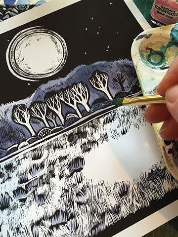 Claudia McGehee painting with dyes