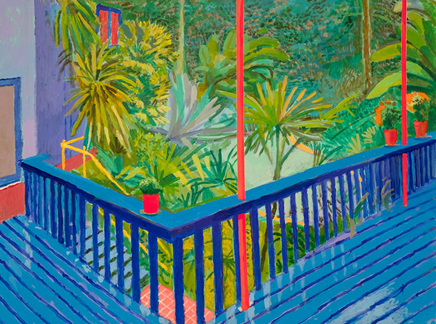 Garden 3 by David Hockney, on exhibit at The Metropolitan Museum of Art
