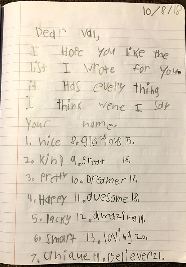 a heartfelt note to a friend praising their virtues