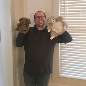 Mr. Z with two of his puppets