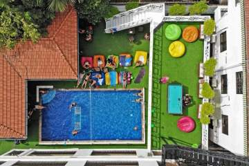 ariel view of mad monkey hostel, siem reap, cambdia