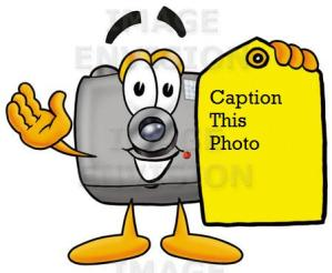 flash camera cartoon character holding a yellow sales price tag