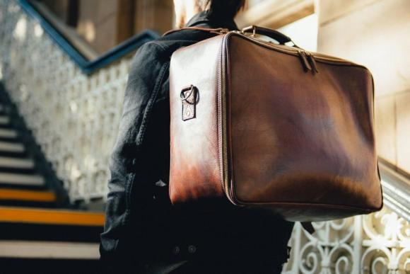 man with stylish bag