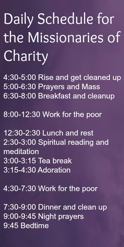 Daily Schedule for the Missionaries of Charity