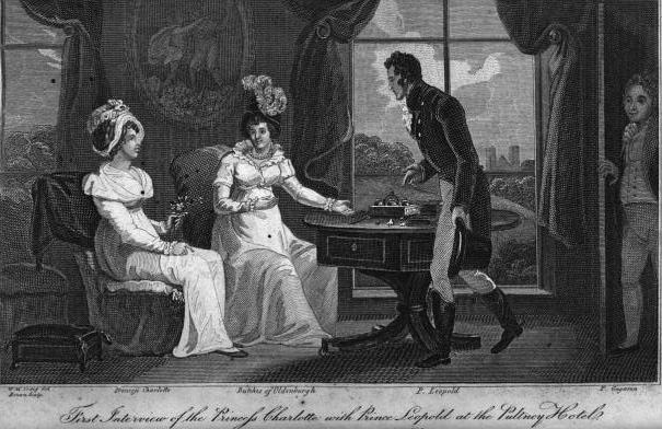 Künsterlischer Darstellung des ersten Treffens von Charlotte und Leopold