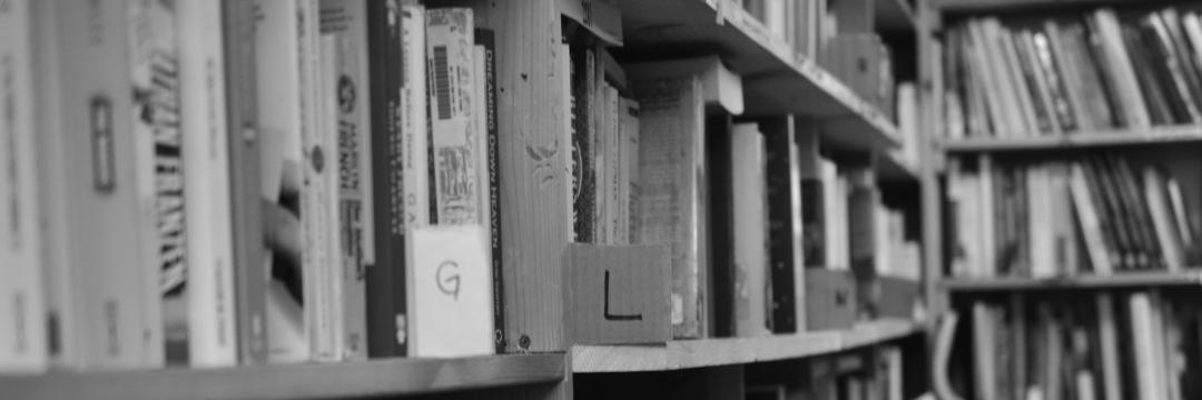 close-up photo of bookshelves