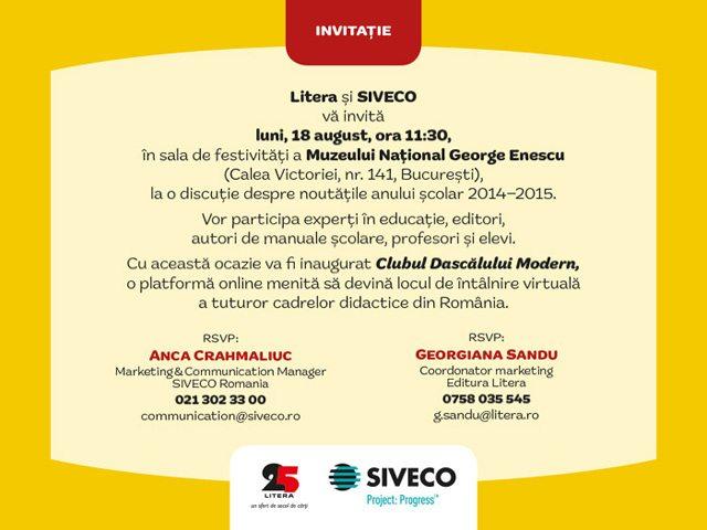 Invitatie eveniment educational