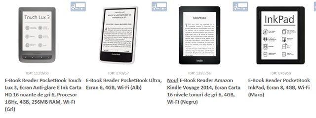 eBook Readere ieftine, merita sa comparati oferta evoMAG cu cea a magazinelor anterior prezentate. Vezi aici produsele aflate pe stoc