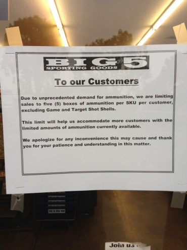 Sign re ammunition in window at Big 5 Sporting Goods