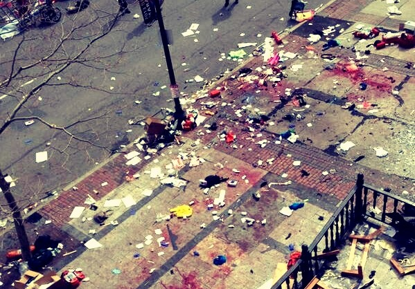 A twitter image showing a blood stained street in Boston