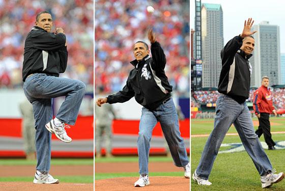 Obama wears mom jeans to pitch baseball