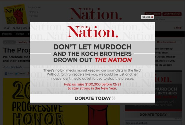 """""""The Nation"""" uses its Koch brother paranoia to fuel a fundraising drive"""