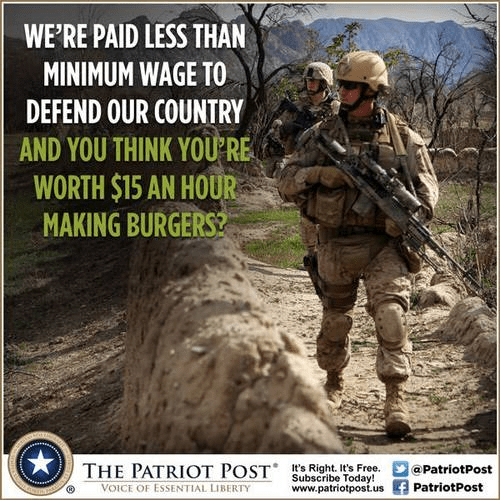 Minimum wage and our troops