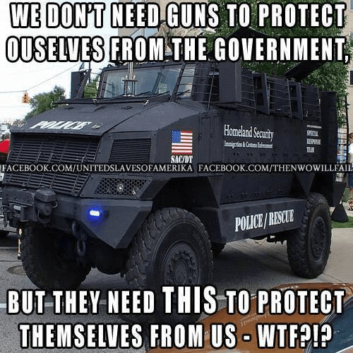 Government has guns to protect themselves from us