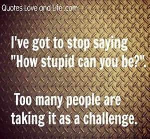 People taking how stupid question as a challenge