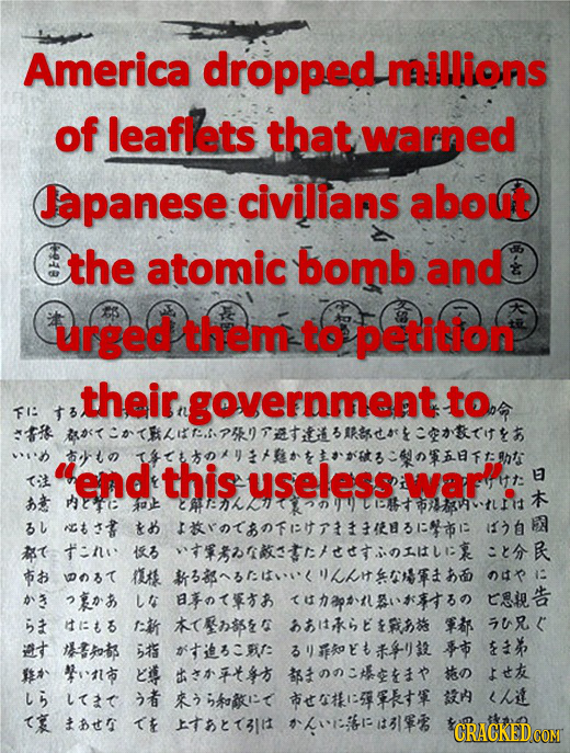 Americans dropped leaflets to try to save Japanese