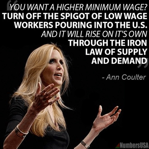 Ann Coulter's market-based advice on the laws of supply and demand