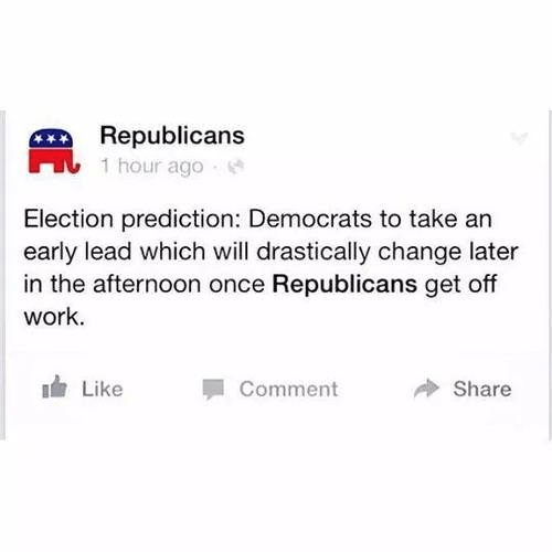 Democrat lead in elections until Republicans get off of work