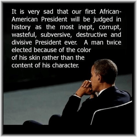 Obama first African American president corrupt wasteful failure