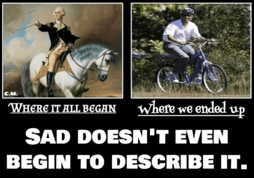 It began with George Washington on a horse and ends with Obama on a bike