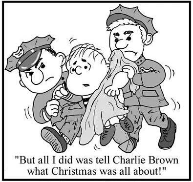 Linus arrested for telling Charlie Brown what Christmas is all about