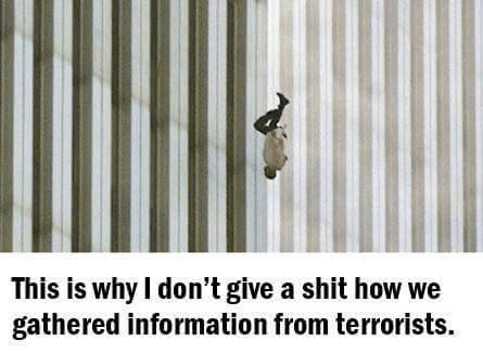 Man falling from Twin Towers explains why we aren't hostile to limited torture