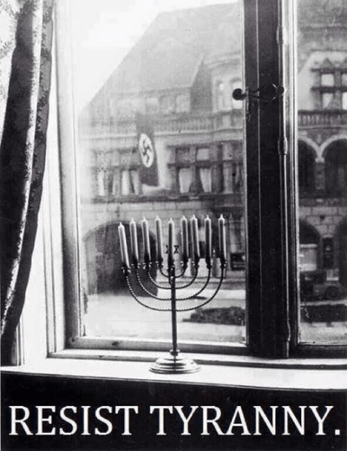 Menorah and Nazi flag resist