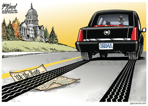 Obama drives over constitution