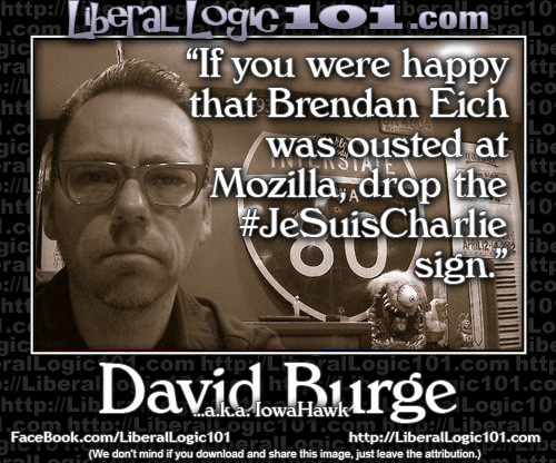 If you applauded Brendan Eich's firing drop the JeSuisCharlie shtick