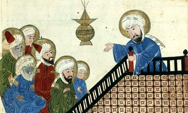 Medieval image of Mohamed preaching