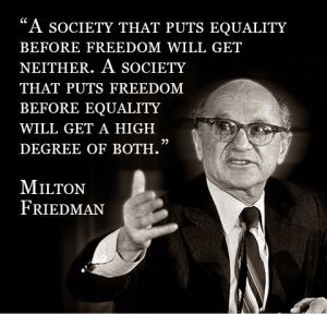 Milton Friedman on equality and freedom