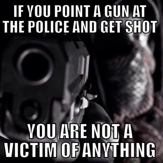 Not a victim if you shoot at police