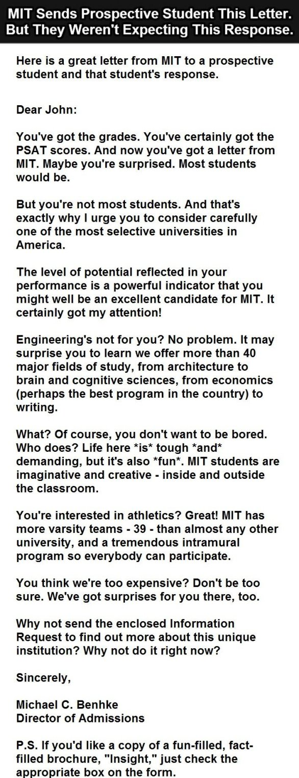 Student letter to MIT